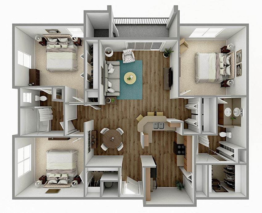 C1 - 3 Bedroom 2 Bath Floorplan Image