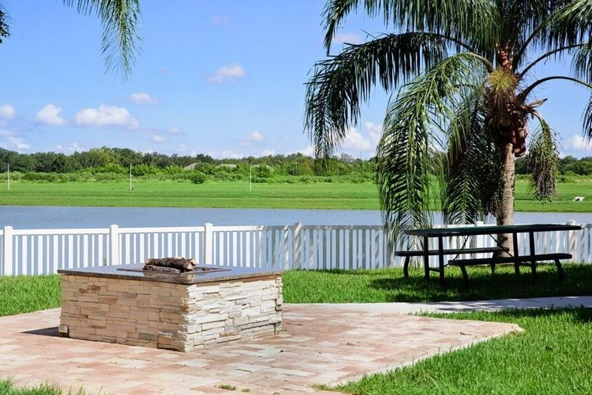 Outdoor picnic area with view of lake