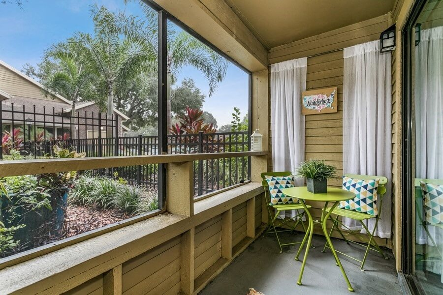 Private balcony patio with each unit