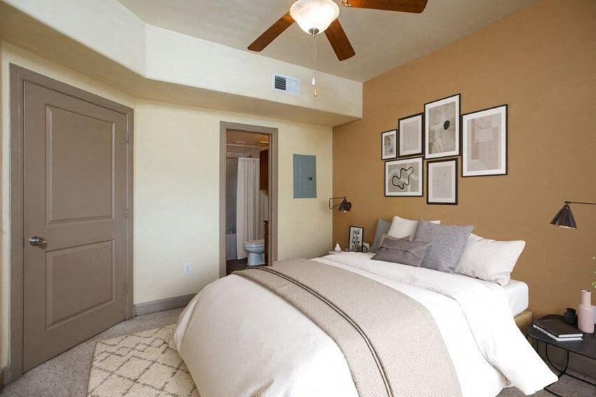 Model bedroom showcasing large bathroom