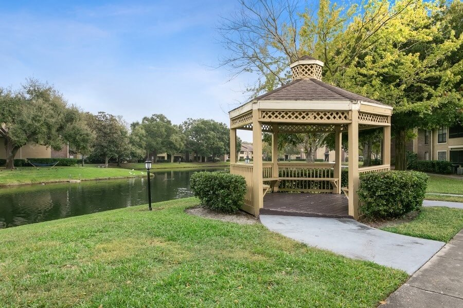 Pond, outdoor walking path, and cabana