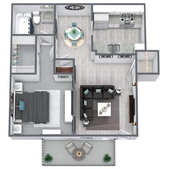 1-bed, 1-bath floor plan 617 sqft