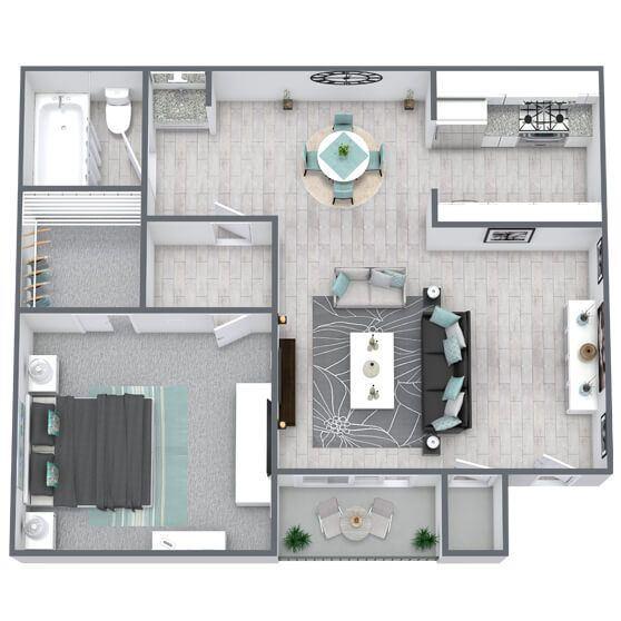 1-bed, 1-bath floor plan 628 sqft