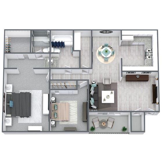 2-bed, 2-bath floor plan 910 sqft
