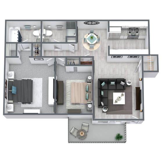 2-bed, 2-bath floor plan 775 sqft