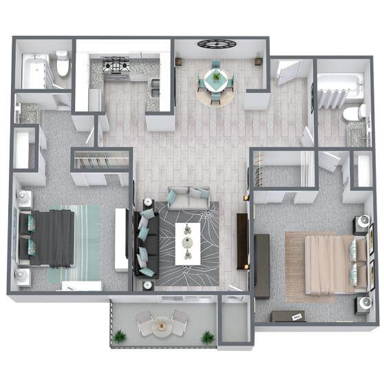 2-bed, 2-bath floor plan 904 sqft