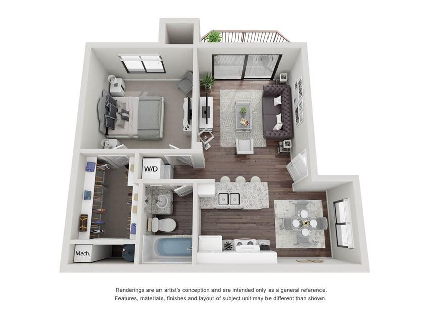 One Bedroom One Bathroom 3D Floor plan 11a