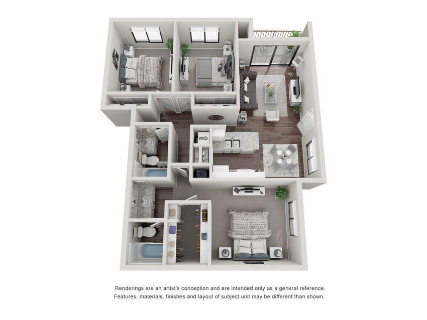 3 Bedroom 2 Bathroom 3D Floor Plan 32a