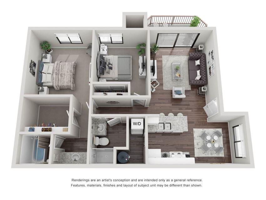 2 bedroom 2 bathroom 3D Floor Plan 22a