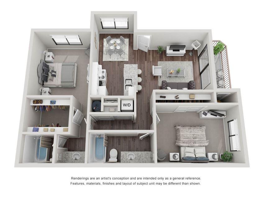 2 bedroom 2 bathroom 3D Floor Plan 22b