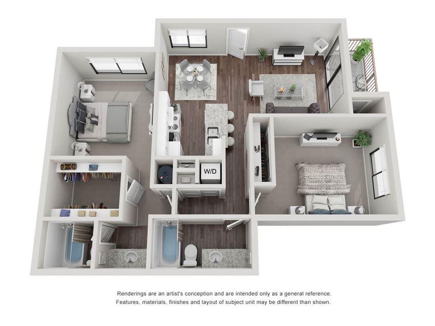 2 bedroom 2 bathroom 3D Floor Plan 22c