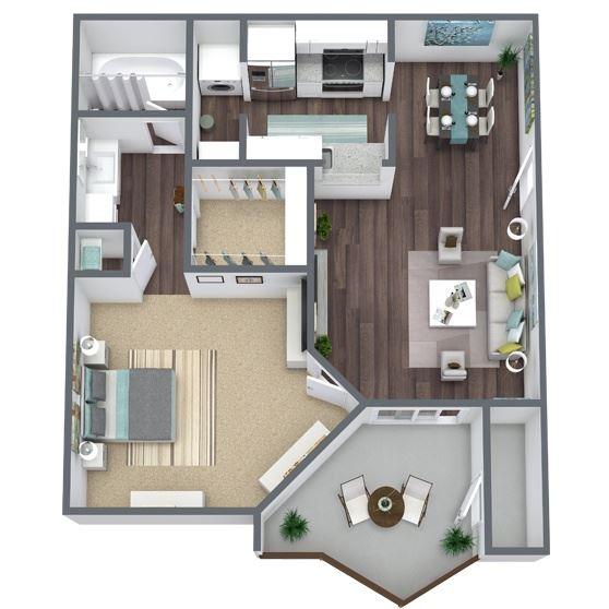 1-Bed, 1-Bath Floor Plan. 564 Sqft.