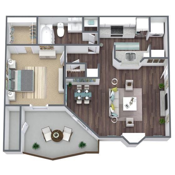 1-Bed, 1-Bath Floor Plan. 677 Sqft.