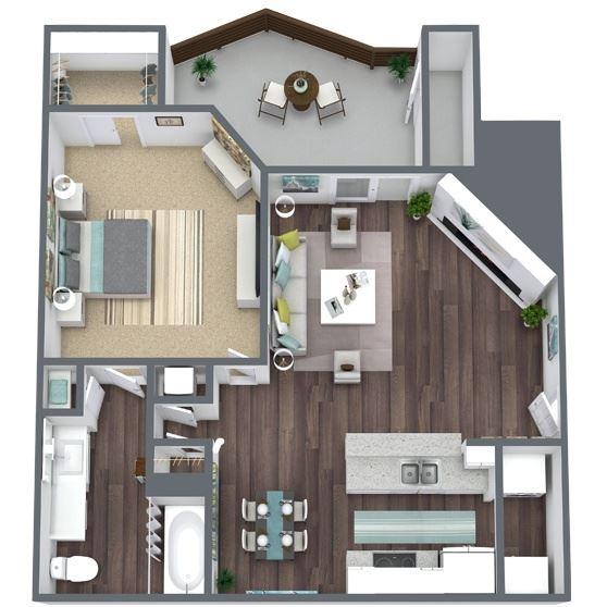 1-Bed, 1-Bath Floor Plan. 754 Sqft.