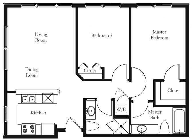2 bed 2 bath floor plan Meadows