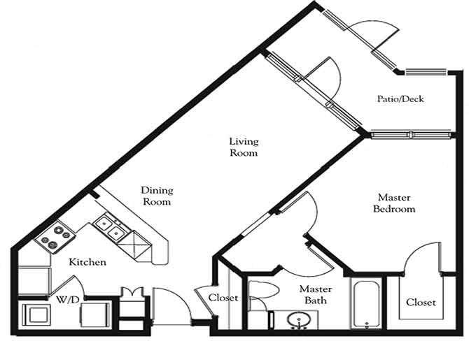 1 bed 1 bath floor plan Sundance