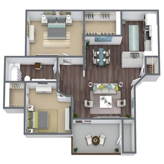2-Bed, 1-Bath Floor Plan. 856 Sqft.