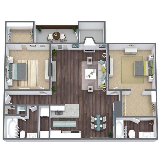 2-Bed, 2-Bath Floor Plan. 981 Sqft.
