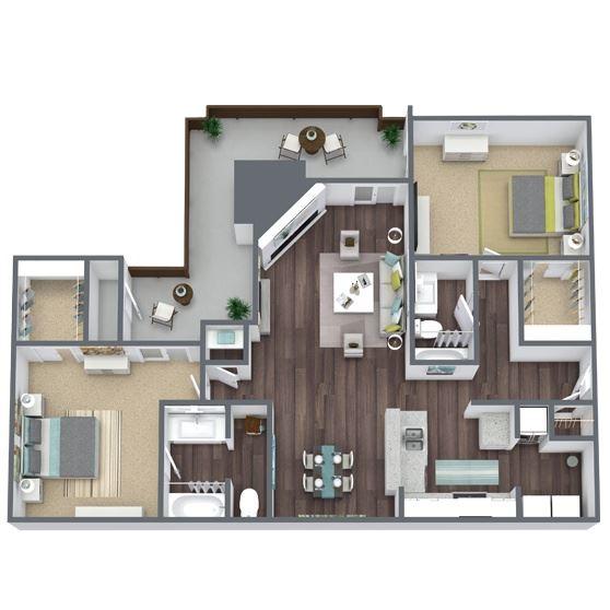2-Bed, 2-Bath Floor Plan. 1,111 Sqft.