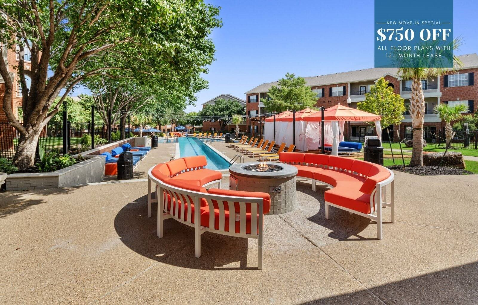 Firepit and lounge area at Chapel Hill apartments showcasing new move-in special of $750 off first month's rent.