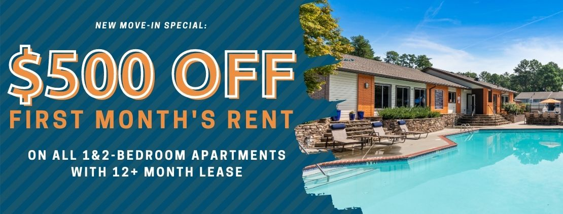New Move-In Special: $500 off 1&2-bedroom apartments with a 12+ month lease