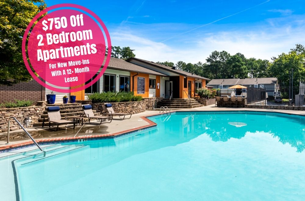 $750 off two bedroom apartments. For new move-ins with a 12+ month lease