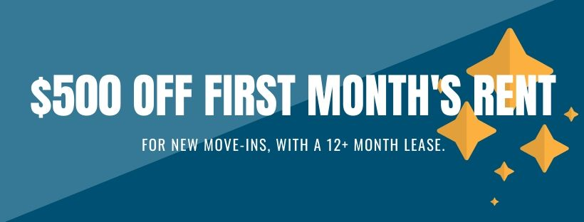 banner advertising $500 off first month's rent, for new move-ins with a 12 plus month lease.