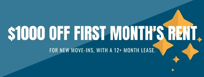 $1000 first month's rent. For new move-ins with a 12+ month lease.