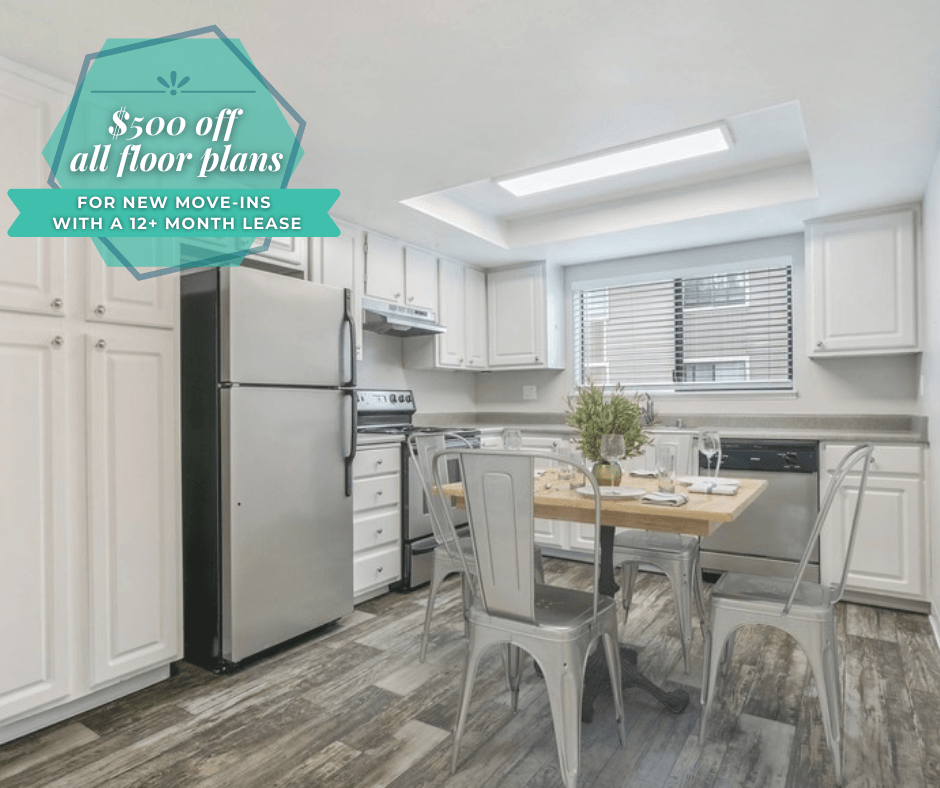 $500 All Floor Plans for New Move-Ins with a 12+ Month Lease.