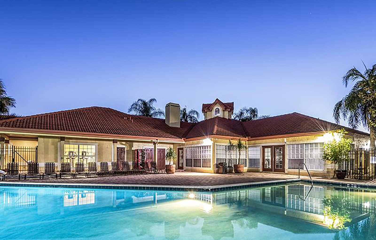 Resort style pool and clubhouse exterior