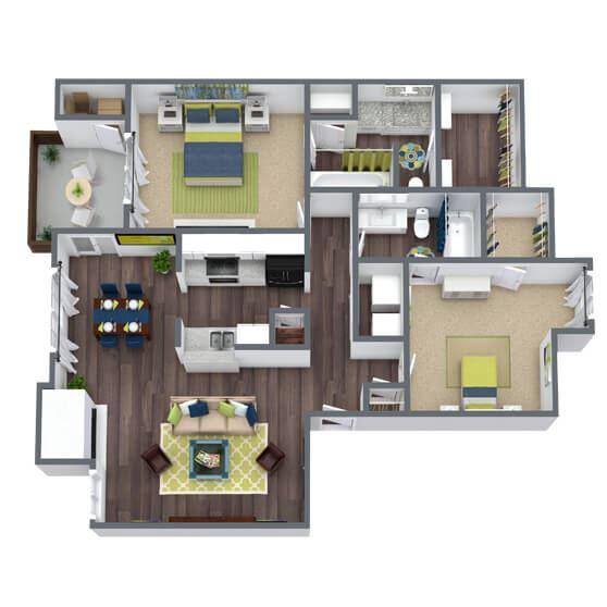 2 bedroom 2 bathroom 3D Floor Plan Hampton