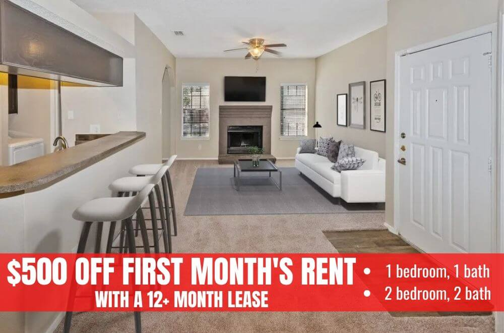 $500 off first months rent on 1 bed, 1 bath and 2 bed, 2 bath apartments with 12+ month lease