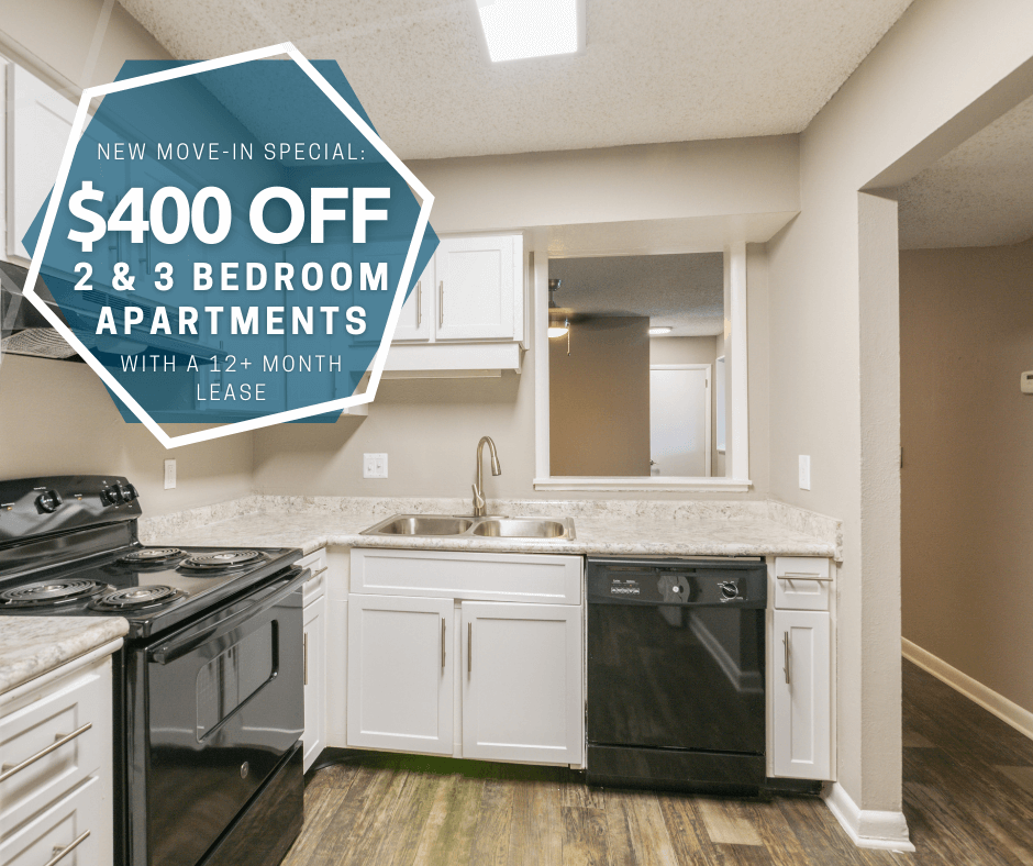 $400 off first full month's rent on 2 & 3 bedroom floor plans. For new move-ins with a 12+ month lease.
