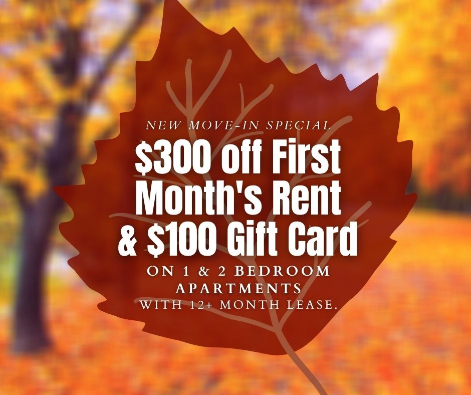 $300 off first months rent, and a $100 gift card, for new move-ins, on 1 and 2 bedroom apartments with 12+ month lease
