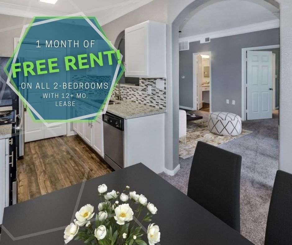 Get 1 month free rent on all 2-bedroom apartments with a 12+ month lease. For new-move-ins only.