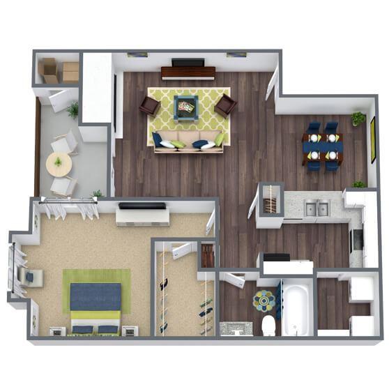1 bedroom 1 bathroom 3D Floor Plan Lilestone