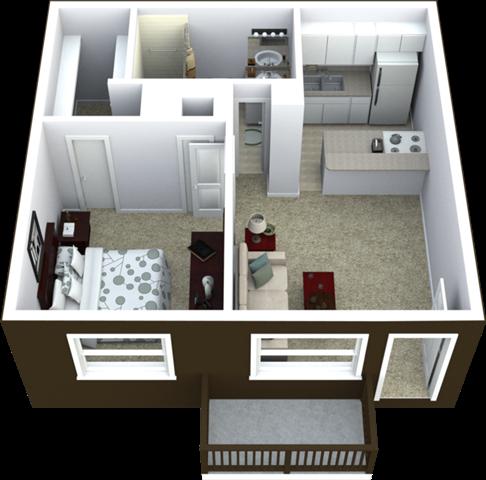 1-Bed, 1-Bath Floor Plan 530 SQFT.