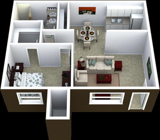 1-Bed, 1-Bath Floor Plan 616 SQFT.