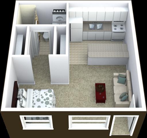 Studio Floor Plan 440 SQFT.