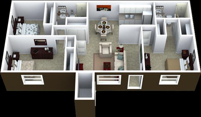 3-Bed, 2-Bath Floor Plan 1,000 SQFT