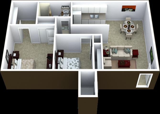 2-Bed, 1-Bath Floor Plan 800 SQFT.