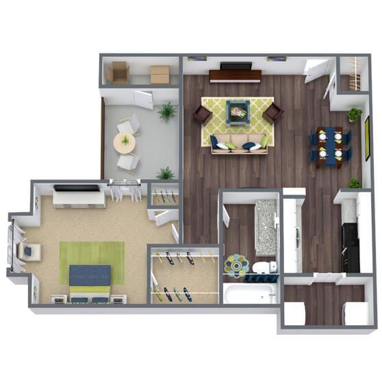 1 bedroom 1 bathroom 3D Floor Plan Oxford