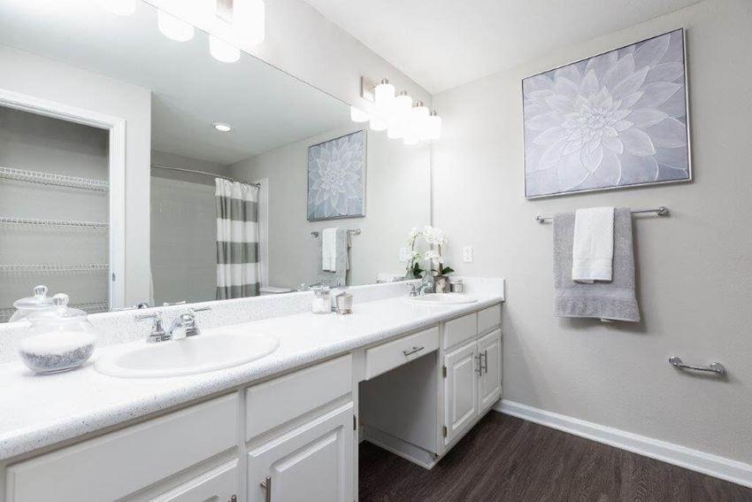 Model bathroom vanity with double sinks