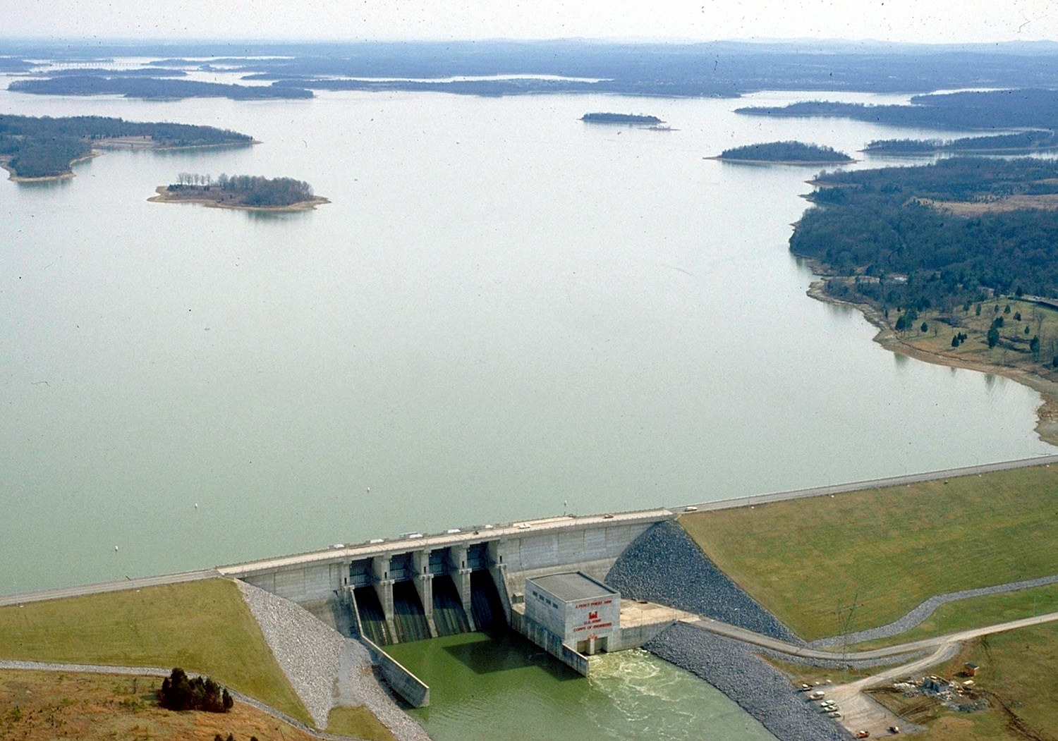Percy Priest Lake dam, as seen from the air.