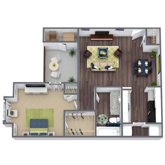 1 bedroom 1 bathroom 3D Floor Plan Regent