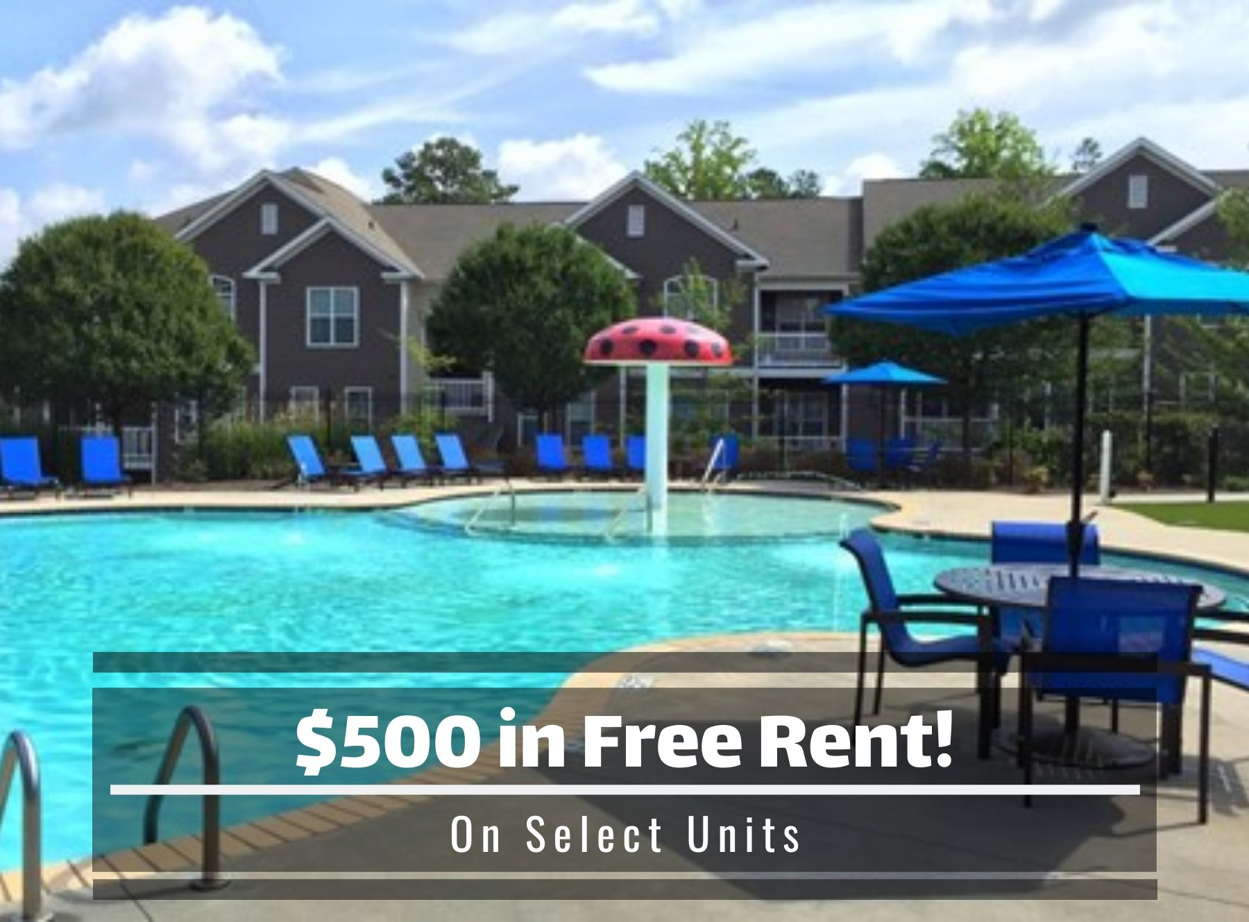 $500 in free rent, on select units