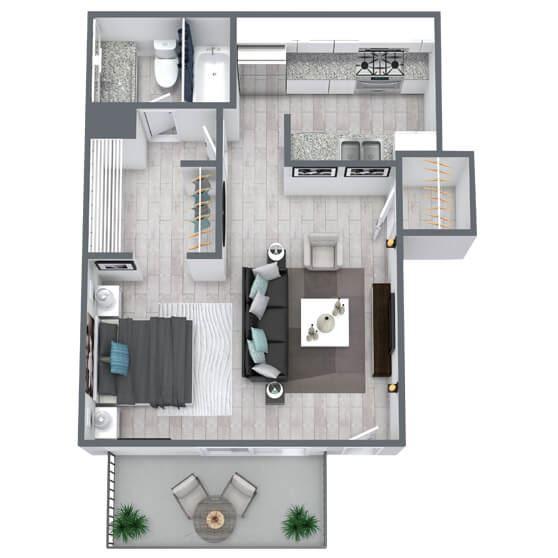 Studio floor plan 415 sqft