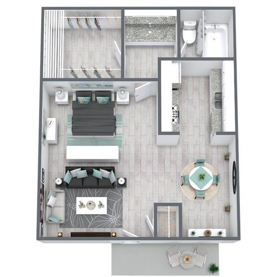 Studio floor plan 471 sqft