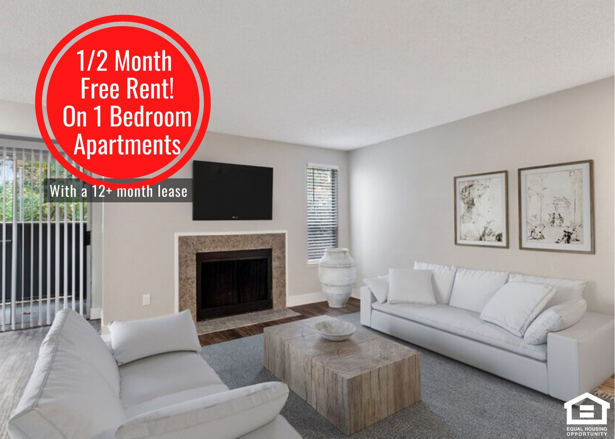 1/2 month off first month's rent on 1 bedroom apartments, with a 12+ month lease.