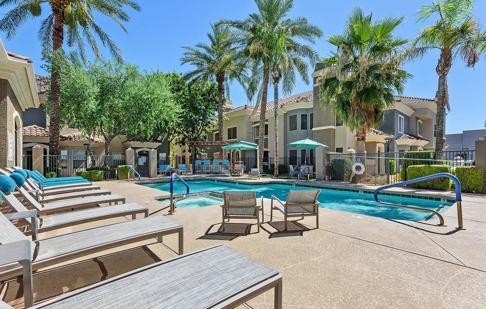 Swimming pool courtyard at Cambria apartments